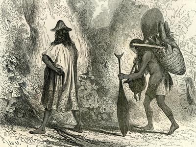 Conibos Man and Woman 1869, Peru--Framed Giclee Print