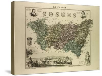 Map of Vosges 1896, France--Stretched Canvas Print