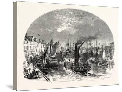 Edinburgh: Leith Harbour 1829--Stretched Canvas Print