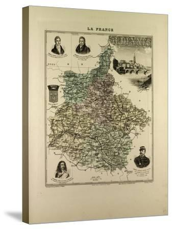 Map of Ardennes 1896 France--Stretched Canvas Print