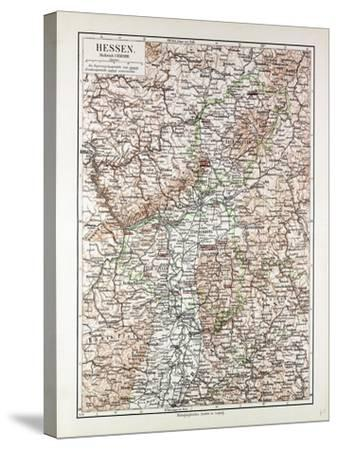 Map of Hessen Germany 1899--Stretched Canvas Print