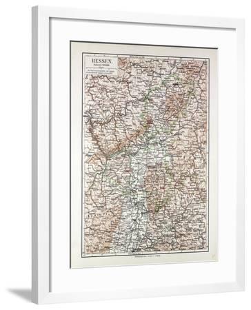Map of Hessen Germany 1899--Framed Giclee Print