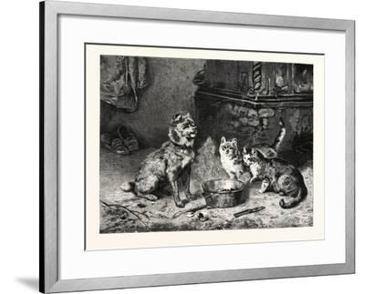 Patience, Dog and Cats Dinner--Framed Giclee Print
