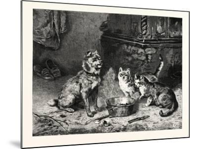 Patience, Dog and Cats Dinner--Mounted Giclee Print