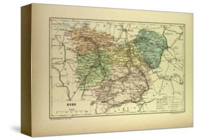 Map of Eure France--Stretched Canvas Print