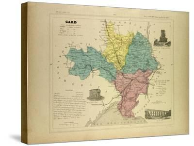 Map of Gard France--Stretched Canvas Print