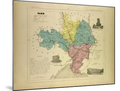 Map of Gard France--Mounted Giclee Print