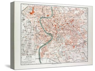 Map of Rome Italy 1899--Stretched Canvas Print