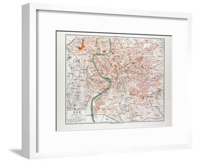 Map of Rome Italy 1899--Framed Giclee Print