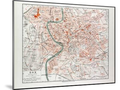 Map of Rome Italy 1899--Mounted Giclee Print