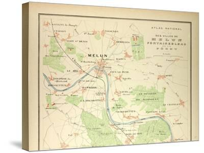 Map of Melun Fontainebleau--Stretched Canvas Print