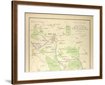 Map of Melun Fontainebleau--Framed Giclee Print