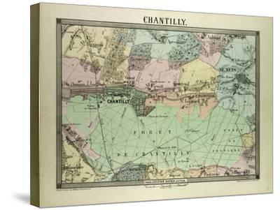 Map of Chantilly, France--Stretched Canvas Print