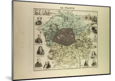 Map of Seine 1896, France--Mounted Giclee Print