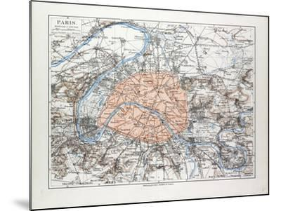 Map of Paris France 1899--Mounted Giclee Print