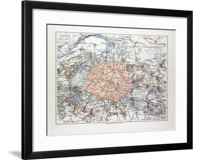 Map of Paris France 1899--Framed Giclee Print