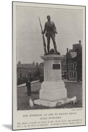 The Memorial at Ayr to Fallen Royal Scots Fusiliers--Mounted Giclee Print