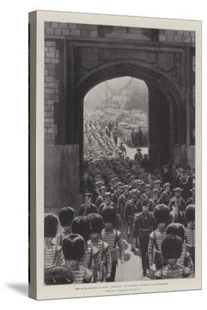 The Naval Brigade of HMS Powerful at Windsor, Entering the Quadrangle--Stretched Canvas Print