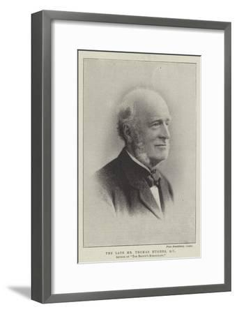 The Late Mr Thomas Hughes, Qc, Author of Tom Brown's Schooldays--Framed Giclee Print