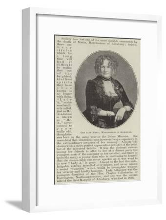 The Late Maria, Marchioness of Ailesbury--Framed Giclee Print