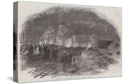 Torchlight Launch of the Iron Screw Steamer Azoff, in the Clyde--Stretched Canvas Print