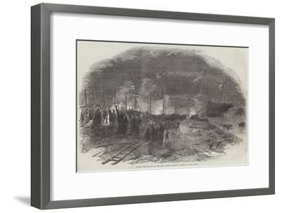 Torchlight Launch of the Iron Screw Steamer Azoff, in the Clyde--Framed Giclee Print