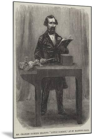 Mr Charles Dickens Reading Little Dombey, at St Martin's Hall--Mounted Giclee Print
