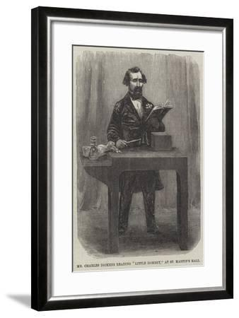 Mr Charles Dickens Reading Little Dombey, at St Martin's Hall--Framed Giclee Print