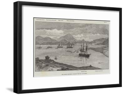 The Greek Squadron Entering the Bay of Salamis--Framed Giclee Print
