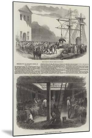 Embarkation of Artillery Horses at Woolwich--Mounted Giclee Print
