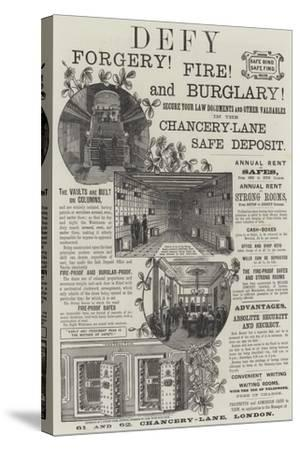 Advertisement, Chancery-Lane Safe Deposit--Stretched Canvas Print