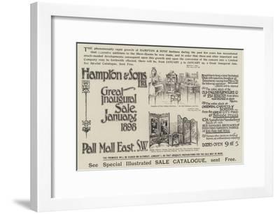 Advertisement, Hampton and Sons--Framed Giclee Print