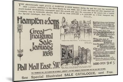 Advertisement, Hampton and Sons--Mounted Giclee Print