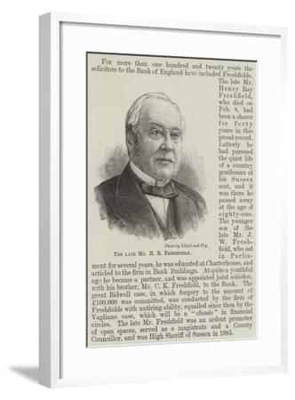 The Late Mr H R Freshfield--Framed Giclee Print