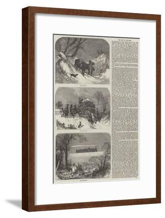 The Post in the Snow--Framed Giclee Print