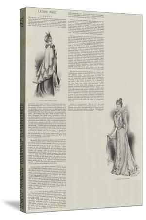 Ladies' Page, Dress--Stretched Canvas Print