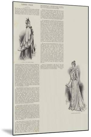 Ladies' Page, Dress--Mounted Giclee Print