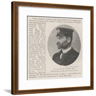 Gunner Joseph Wright, Rn, Awarded the Conspicuous Service Cross--Framed Giclee Print