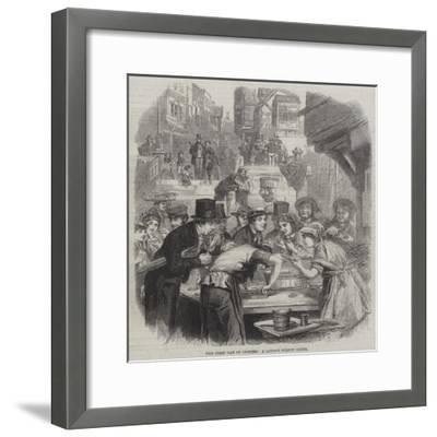 The First Day of Oysters, a London Street Scene--Framed Giclee Print