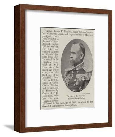 Captain a K Bickford, Promoted Rear-Admiral--Framed Giclee Print
