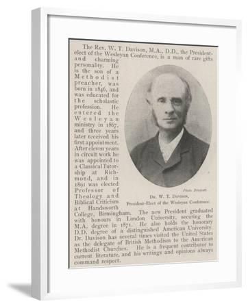 Dr W T Davison, President-Elect of the Wesleyan Conference--Framed Giclee Print