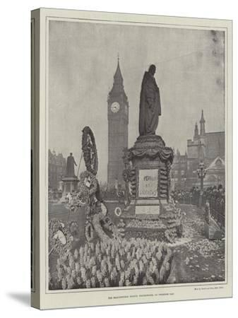 The Beaconsfield Statue, Westminster, on Primrose Day--Stretched Canvas Print