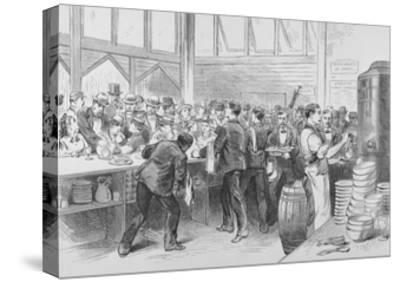 The Crowded Lunch Counter of an American Railroad Station, 1870S--Stretched Canvas Print