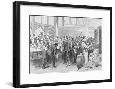The Crowded Lunch Counter of an American Railroad Station, 1870S--Framed Giclee Print