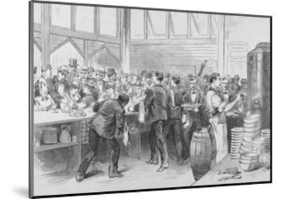 The Crowded Lunch Counter of an American Railroad Station, 1870S--Mounted Giclee Print