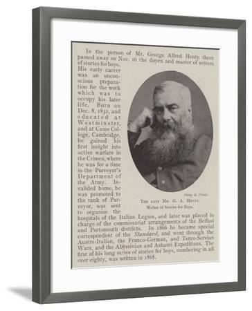 The Late Mr G a Henty, Writer of Stories for Boys--Framed Giclee Print