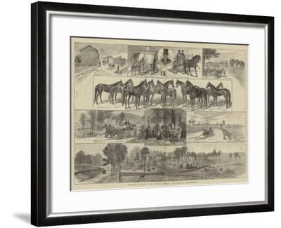 Trotting in America, Mr Bonner's Breeding and Training Establishment--Framed Giclee Print