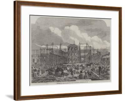 Progress of the Building for the International Exhibition of 1862--Framed Giclee Print