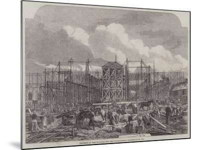 Progress of the Building for the International Exhibition of 1862--Mounted Giclee Print