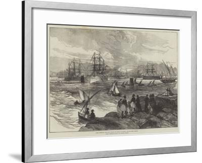 HMS Serapis, with the Prince of Wales on Board, Leaving the Piraeus--Framed Giclee Print